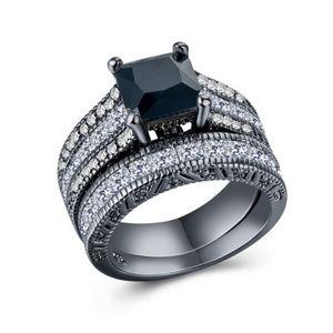 Black White  Diamond Wedding Ring 2 Piece Set 7